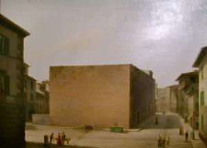 Il carcere delle Stinche in un quadro di Fabio Borbottoni (1820-1902)