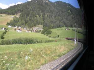 A look out of the window, preparing to cross the Alps