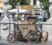 Venditore di pannocchie a Lubiana